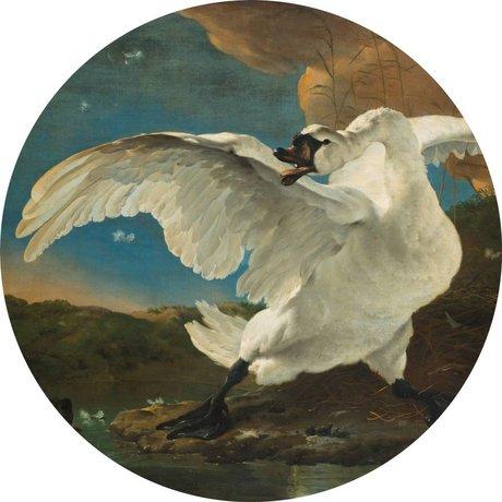 KEK Amsterdam Tapete Circle The Endangered Swan mehrfarbige Vliestapete ø190cm