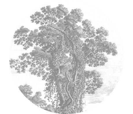 KEK Amsterdam Tapete Circle Engraved Tree schwarz weiße Vliestapete ø190cm