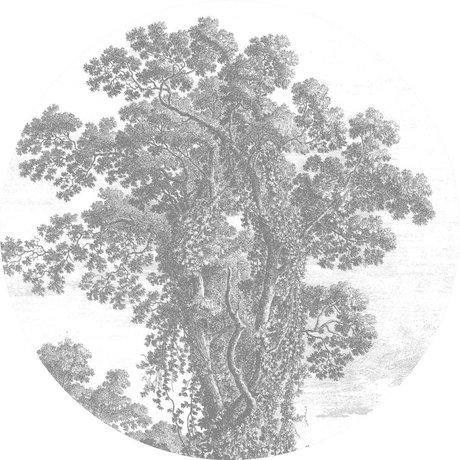 KEK Amsterdam Behang Cirkel Engraved Tree zwart wit vliesbehang ø190cm