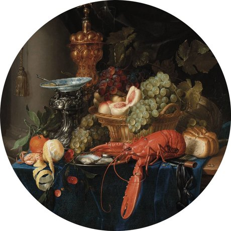 KEK Amsterdam Behang Cirkel Lobster multicolour vliesbehang ø190cm