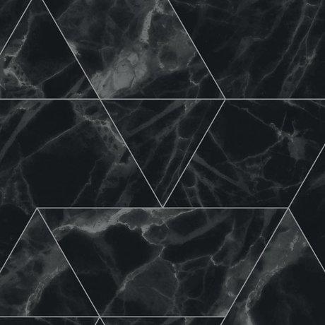 KEK Amsterdam Tapete Marmor Mosaik schwarz Vliestapete 97,4x280cm (2 Bogen)