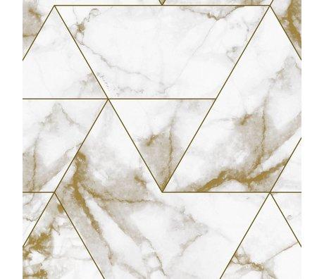 KEK Amsterdam Behang Marble Mosaic goud vliesbehang  97,4x280cm (2 sheets)