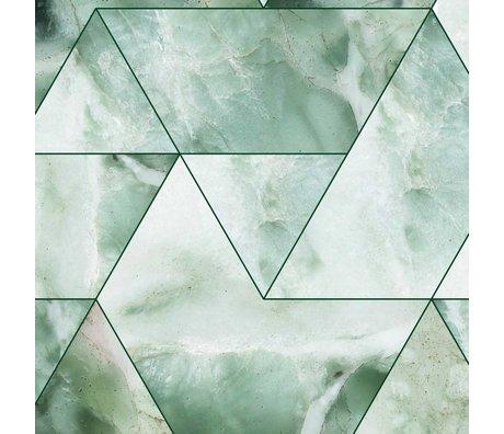 KEK Amsterdam Papier peint intissé Marble Mosaic vert 97,4x280cm (2 feuilles)