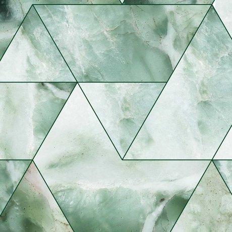 KEK Amsterdam Papier peint papier peint intissé vert mosaïque marbre 97.4x280cm (2 feuilles)