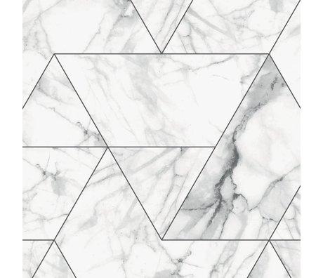 KEK Amsterdam Papier Peint Papier Peint intissé Marbre Mosaïque blanc 97.4x280cm (2 feuilles)