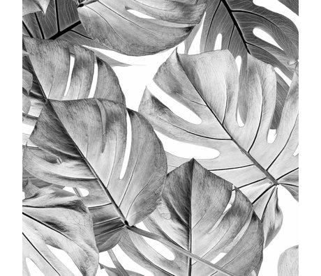 KEK Amsterdam Papier peint intissé Monstera noir et blanc 97.4x280cm (2 feuilles)