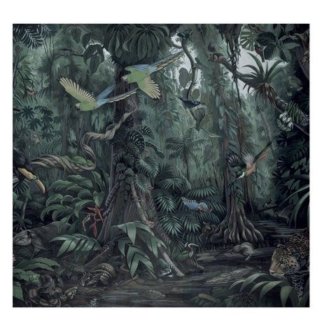 KEK Amsterdam Tapete Tropische Landschaften grüne Vliestapete 292,2x280cm (6 Blätter)