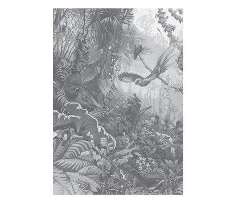 KEK Amsterdam Papier peint Paysages tropicaux papier peint intissé noir et blanc 194,8x280cm (4 feuilles)