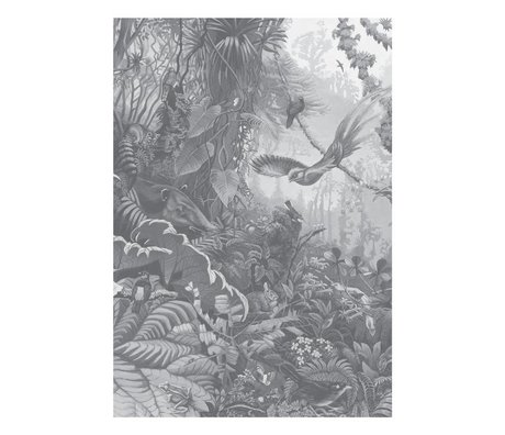 KEK Amsterdam Tapete Tropical Landscapes Schwarz-Weiß-Vlies-Tapete 194,8 x 280 cm (4 Blatt)
