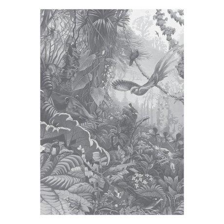 KEK Amsterdam Behang Tropical Landscapes zwart wit vliesbehang 194,8x280cm (4 sheets)