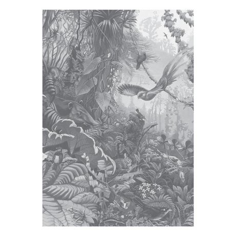 KEK Amsterdam Papier peint Tropical Landscapes papier peint intissé noir et blanc 194,8 x 280 cm (4 feuilles)