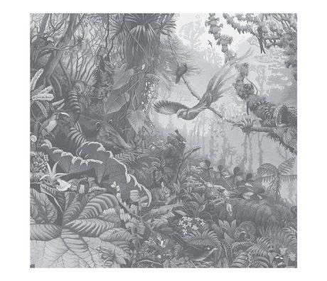 KEK Amsterdam Papier peint Tropical Landscapes papier peint intissé non tissé noir blanc 292,2x280cm (6 feuilles)