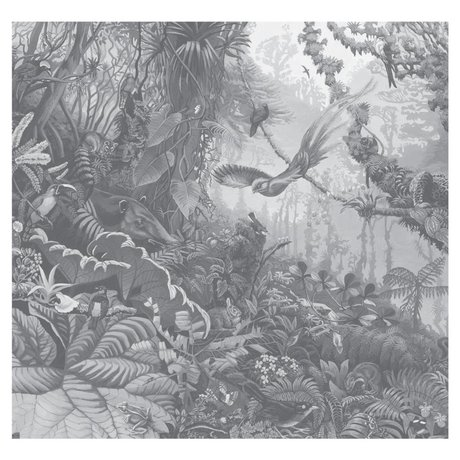 KEK Amsterdam Behang Tropical Landscapes zwart wit vliesbehang 292,2x280cm (6 sheets)