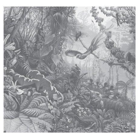 KEK Amsterdam Tapete Tropical Landscapes schwarz weiße Vliestapete 292,2x280cm (6 Blatt)