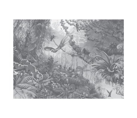 KEK Amsterdam Behang Tropical Landscapes zwart wit vliesbehang 389,6x280cm (8 sheets)