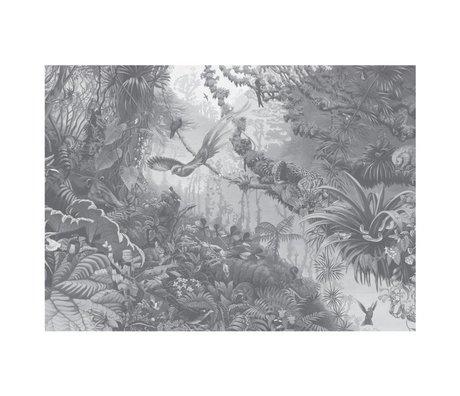 KEK Amsterdam Papier peint intissé Tropical Landscapes noir et blanc 389,6x280cm (8 feuilles)