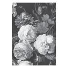 KEK Amsterdam Papier peint intissé Golden Age Flowers papier peint intissé noir et blanc 194,8 x 280 cm (4 feuilles)
