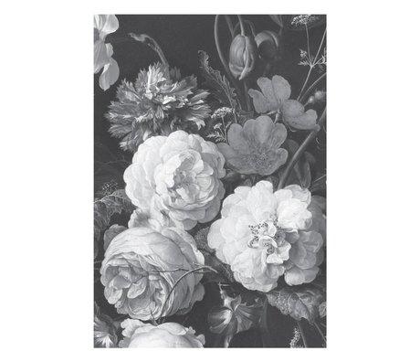 KEK Amsterdam Behang Golden Age Flowers zwart wit vliesbehang 194,8x280cm (4 sheets)