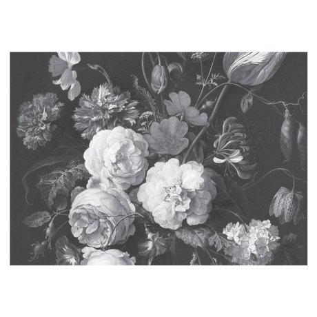 KEK Amsterdam Papier peint Golden Age Flowers noir blanc papier peint intissé 389,6x280cm (8 feuilles)