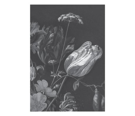 KEK Amsterdam Wallpaper Golden Age Flowers black white non-woven wallpaper 194.8x280cm (4 sheets)