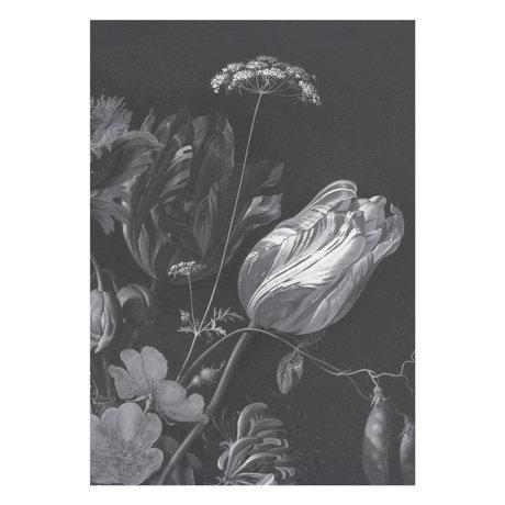 KEK Amsterdam Papier peint intissé Golden Age Flowers noir blanc 194,8x280cm (4 feuilles)