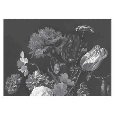 KEK Amsterdam Tapete Golden Age Flowers Schwarz-Weiß-Vlies-Tapete 389,6 x 280 cm (8 Blatt)