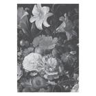 KEK Amsterdam Tapete Golden Age Flowers schwarz weiß Vliestapete 194,8x280cm (4 Blatt)