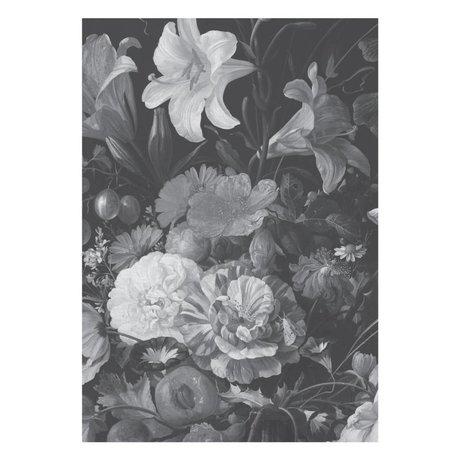 KEK Amsterdam Wallpaper Golden Age Flowers black and white non-woven wallpaper 194.8 x 280 cm (4 sheets)