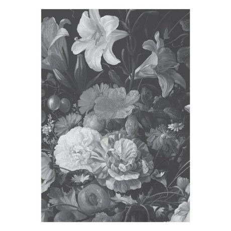 KEK Amsterdam Wallpaper Golden Age Flowers black white non-woven wallpaper 194,8x280cm (4 sheets)