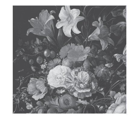 KEK Amsterdam Wallpaper Golden Age Flowers black white non-woven wallpaper 292,2x280cm (6 sheets)