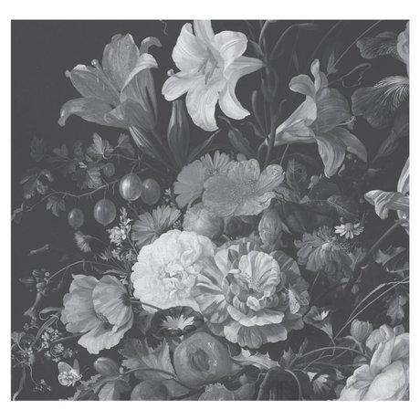 KEK Amsterdam Wallpaper Golden Age Flowers black and white non-woven wallpaper 292.2x280cm (6 sheets)