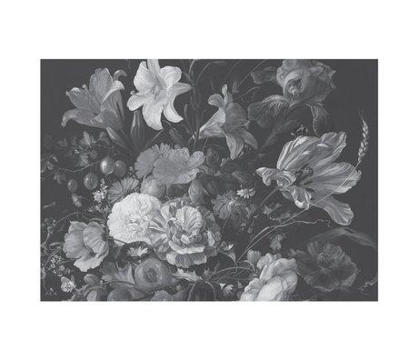 KEK Amsterdam Tapete Golden Age Flowers Schwarz-Weiß Vliestapete 389.6x280cm (8 Blatt)