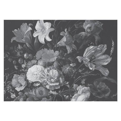 KEK Amsterdam Papier peint intissé Golden Age Flowers papier peint intissé noir et blanc 389.6x280cm (8 feuilles)
