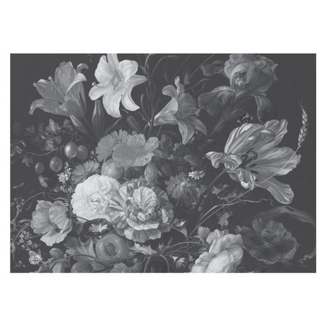 KEK Amsterdam Wallpaper Golden Age Flowers black white non-woven wallpaper 389,6x280cm (8 sheets)