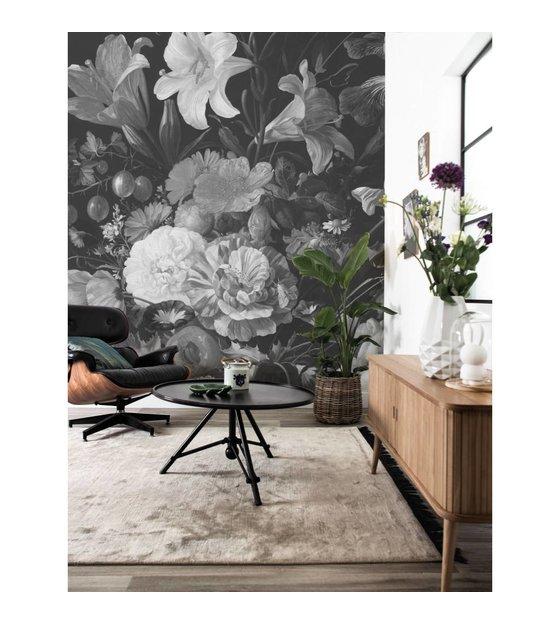 Fotobehang Zwart Wit.Golden Age Flowers Zwart Wit Vliesbehang 389 6x280cm 8 Sheets
