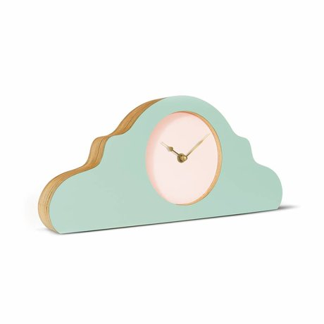 KLOQ Mantel clock mint green pink gold wood 380x168x42cm