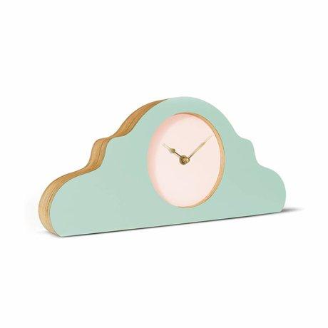 KLOQ Mantel klok mint groen roze goud hout 380x168x42cm