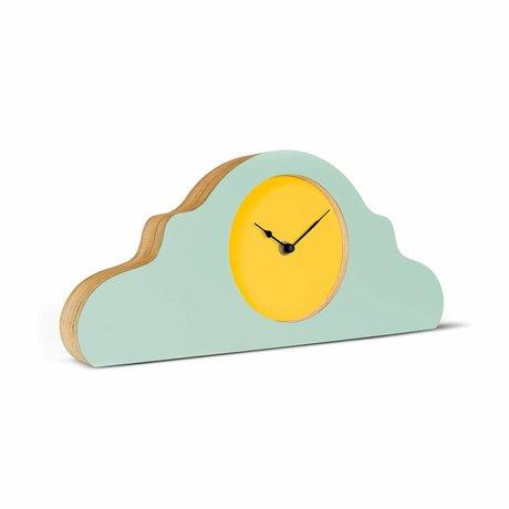 KLOQ Mantel clock mint green yellow black wood 380x168x42cm
