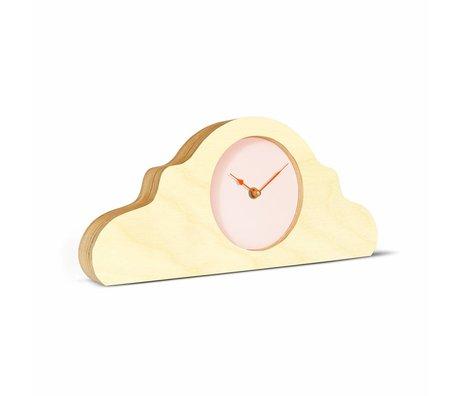 KLOQ Mantel clock natural brown pink orange wood 380x168x42cm