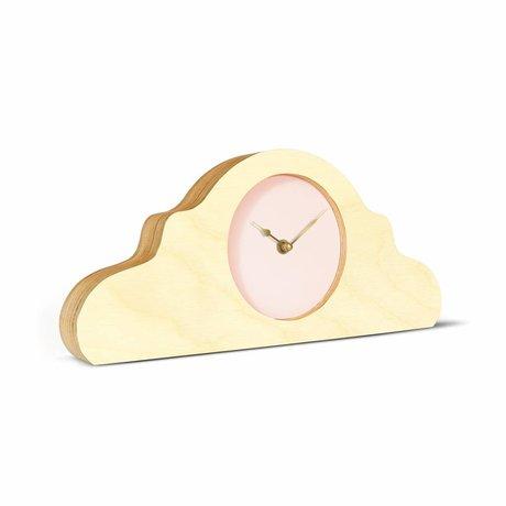 KLOQ Mantel klok naturel bruin roze goud hout 380x168x42cm