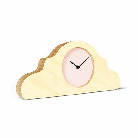 KLOQ Mantel clock natural brown pink black wood 380x168x42cm