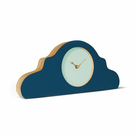 KLOQ Mantel clock petrol blue mint green gold wood 380x168x42cm