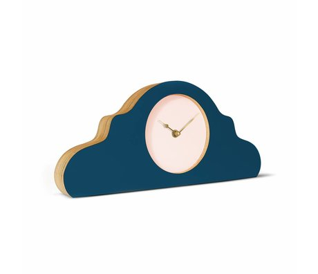 KLOQ Mantel clock petrol blue pink gold wood 380x168x42cm