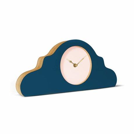 KLOQ Mantel klok petrol blauw roze goud hout 380x168x42cm