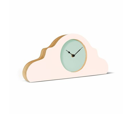 KLOQ Mantel clock pink mint green black wood 380x168x42cm