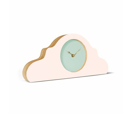 KLOQ Mantel clock pink mint green gold wood 380x168x42cm