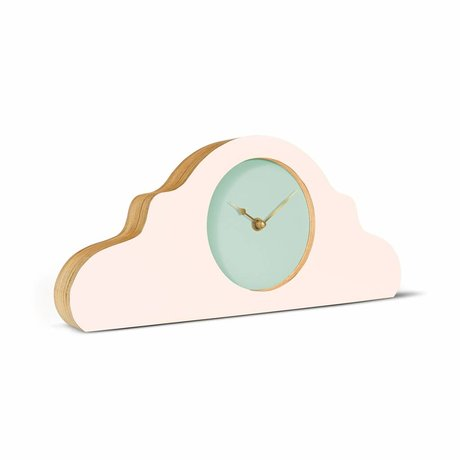 KLOQ Pendule rose vert menthe bois doré 380x168x42cm
