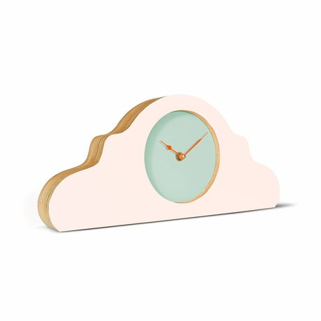 KLOQ Mantel clock pink mint green orange wood 380x168x42cm