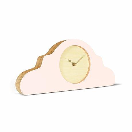 KLOQ Kaminuhr rosa naturbraun gold holz 380x168x42cm