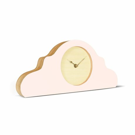 KLOQ Mantel klok roze naturel bruin goud hout 380x168x42cm